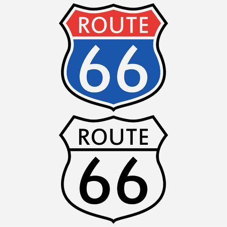 Route 66 sign set. The first road sign in America. Vector illustration. Vetores