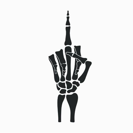 Skeleton hand shows middle finger gesture. Vector illustration.