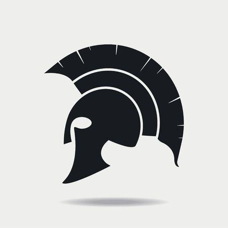 Icono de casco espartano. Armadura de cabeza griega o romana para Gladiador, legionario. Ilustración de vector.