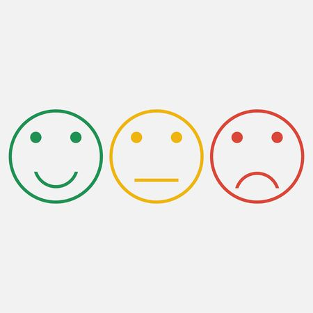 Emoticons. Set of smiley line icons. Feedback emotions face. Positive, normal, negative. Vector illustration. Stock Vector - 127855003