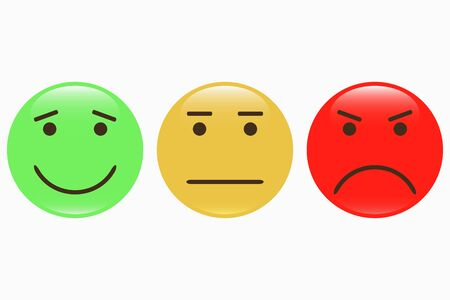 Emoticons. Set of smiley icons. Feedback emotions face. Positive, normal, negative. Vector illustration. Illustration