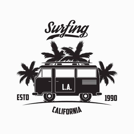 California, Los Angeles surfing typography with surf bus, palm trees and surfboard. Graphics for design clothes, t-shirt, print product, apparel. Vector illustration.