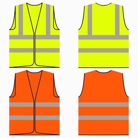Sicherheitsweste. Set aus gelber und orangefarbener Arbeitsuniform mit reflektierenden Streifen. Vektor-Illustration. Vektorgrafik