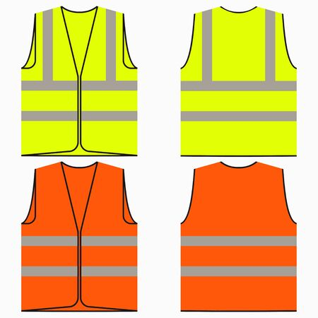 Safety vest. Set of yellow and orange work uniform with reflective stripes. Vector illustration. Illustration