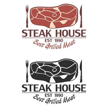 Steak house logo with meat, knife and fork. Emblem template for restaurant, grill bar. Vector illustration.