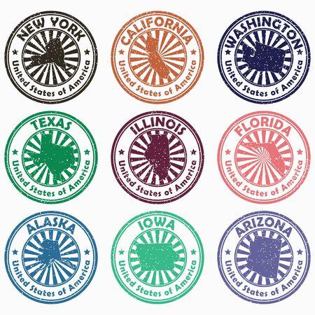 USA-Briefmarken mit dem Namen und der Karte der Staaten. Satz Vintage Grunge-Zeichen der Vereinigten Staaten von Amerika. Vektor-Illustration.