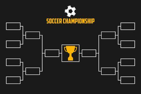 Turnier-Bracket. Fußballmeisterschaftsschema mit Trophäenpokal. Fußball-Sport-Vektor-Illustration. Vektorgrafik