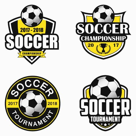 Godło piłka nożna. Zestaw wzorów emblematów sportowych. Ilustracja wektorowa.