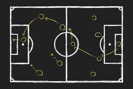 Strategie für Fußballspiele. Kreidehandzeichnung mit taktischem Fußballplan auf Tafel. Vektor-Illustration.