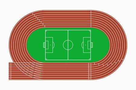 Pista de atletismo y campo de fútbol o fútbol, vista superior del estadio deportivo. Ilustración vectorial.