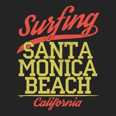 Californië, Santa Monica strand typografie voor design kleding, t-shirts. Surfen afdrukken. Grafisch voor kleding. Vector illustratie.