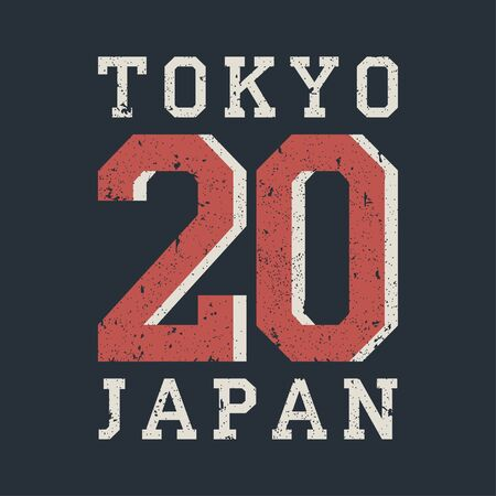 Tokyo, Japan typography for design clothes, t-shirt. Graphics for print product with grunge. Stamp for number athletic apparel. Vector illustration.