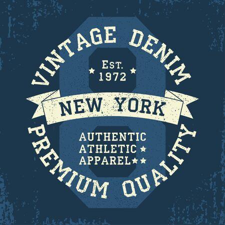 New York vintage grunge graphic for t-shirt. Original clothes design. Authentic athletic apparel typography. Retro sportswear print. Vector illustration. Vektorové ilustrace