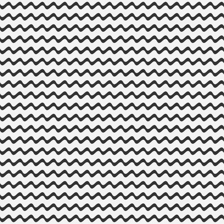Seamless pattern of wave lines. Horizontal curved strip. Vector background.