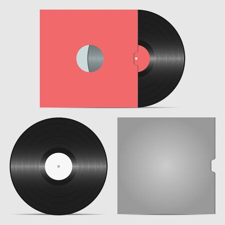 Set of vinyl record and envelope for plate. Retro sound carrier. Plate for DJ Scratch. Vector illustration.