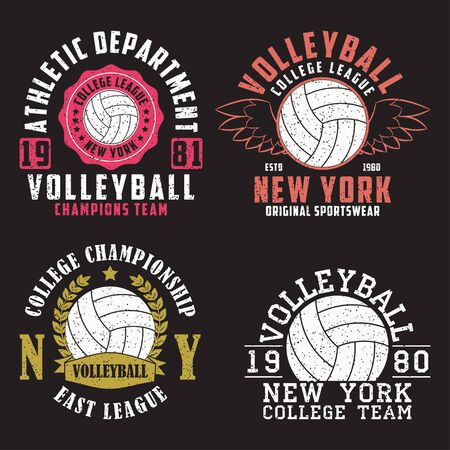 Set of Volleyball New York print for apparel with ball. Collection of vintage typography emblem for t-shirt. Design for athletic clothes. Vector illustration. Illustration