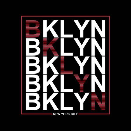 Brooklyn, New York typography graphics for t-shirt. Print athletic clothes with lettering - BKLYN. Line design for sport original apparel. Vector illustration.