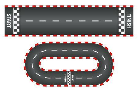 Rennstrecke, Draufsicht auf Asphaltstraßen, Kartrennen mit Start- und Ziellinie. Vektor-Illustration.