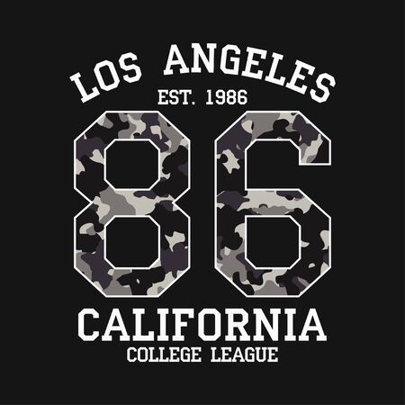 Los Angeles graphic design for t-shirt with camouflage texture. California tee shirt print with slogan. LA apparel typography with number in military and army style. Vector illustration.