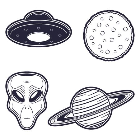 Alien, UFO, moon and planet. Set of badge and stickers print design in monochrome style on cosmos theme. Vector.