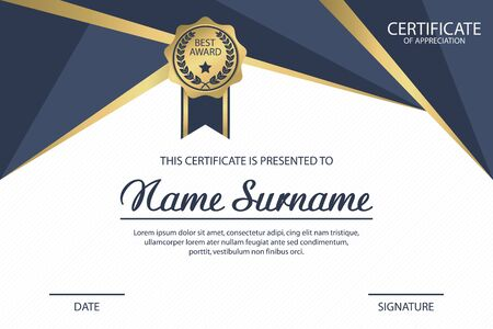 Certificate template. Appreciation diploma award with medal. Vector illustration.