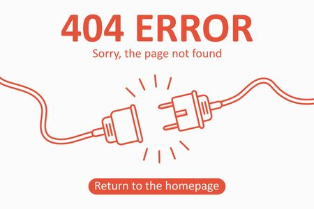 404 error. Page not found template with electric plug and socket. Design for web page - disconnect banner for website. Vector illustration. 일러스트