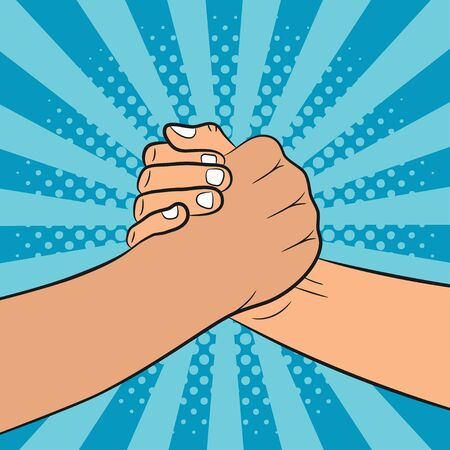 Brotherly handshake illustration in pop art style. Friends shake hands. Comic background. Vector.