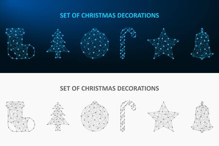Christmas decoration set made by dot and line. Low poly holiday ornaments polygonal wireframe mesh. Vector illustration.