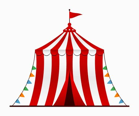 Circus tent. Circus arena with a dome in cartoon style. Vector illustration.