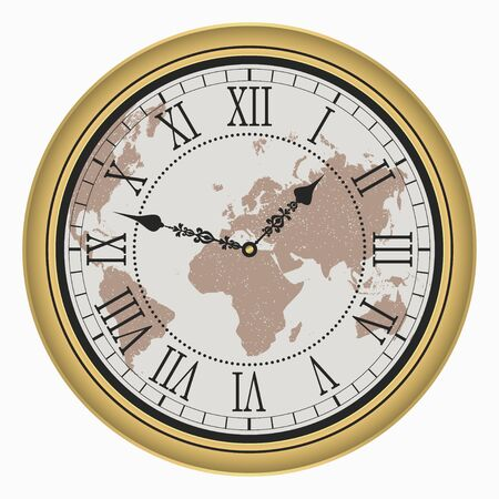 Vintage clock with World map. Antique golden wall clock-face dial with Roman numeral. Vector illustration.