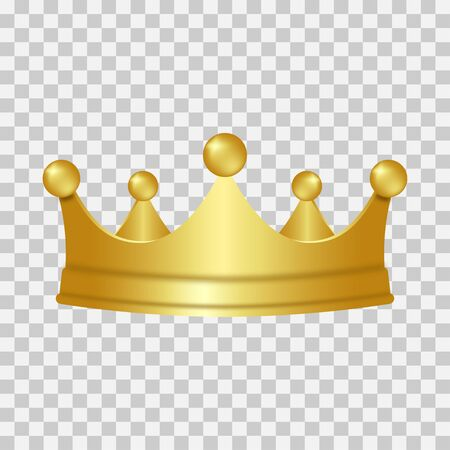 Realistic gold crown. 3D golden crown isolated on transparent background. Vector illustration. Standard-Bild - 125871492