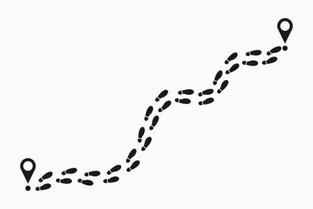 Spuren des menschlichen Fußabdrucks. Schuhe Trail Track mit Standort-Pin. Fußspuren-Route. Vektor-Illustration.