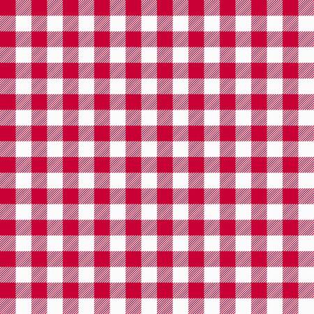 Gingham nahtloses rotes Muster. Tischdeckenbeschaffenheit, karierter Hintergrund. Typografiegrafiken für Hemd, Kleidung. Vektor.