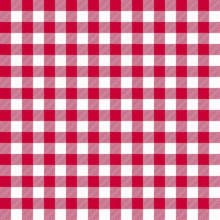 Modelo rojo inconsútil de la guinga. Textura de manteles, fondo a cuadros. Gráficos de tipografía para camisa, ropa. Vector.