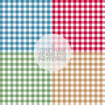 Gingham seamless patterns set. Tablecloths texture, plaid background. Typography graphics for shirt, clothes. Vector.