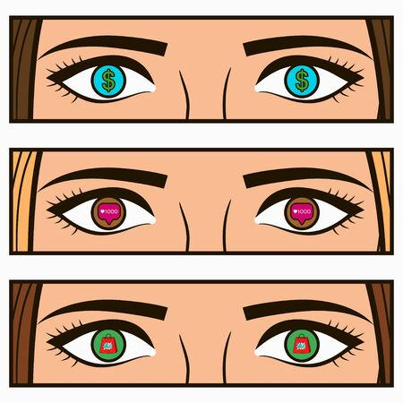 Money, social network icon - follow and sale signs in female eyes. Comic pop-art illustration with girl interests in her eye. Vector.