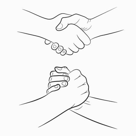 Handdruk handgetekende borden set. Broederlijke en vriendelijke tekening handen schudden. Vector illustratie.