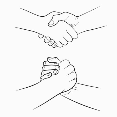 Handshake hand-drawn signs set. Brotherly and friendly drawing shake hands. Vector illustration. Stock Vector - 127855201