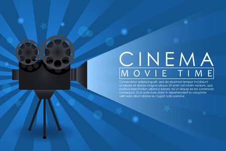 Cinema background, movie time banner with retro camera. Abstract advertising poster for cinema theatre or website. Vector illustration. Illustration