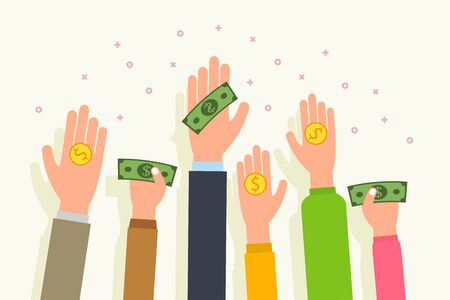 Donation money concept and charity. People give money and coins in palm hand. Flat style vector illustration.