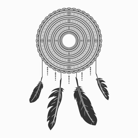 Dream catcher. Dreamcatcher with feathers. Indian talisman. Vector illustration.