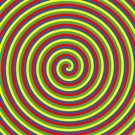 Hypnotic color circles. Collection of colorful psychedelic spiral backgrounds. Abstract hypnosis optical illusion swirls. Vector illustration. Illustration