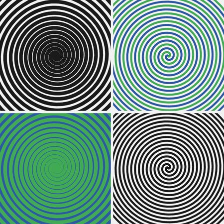 Hypnotic circles set. Collection of psychedelic spiral backgrounds. Abstract hypnosis optical illusion swirls. Vector illustration.