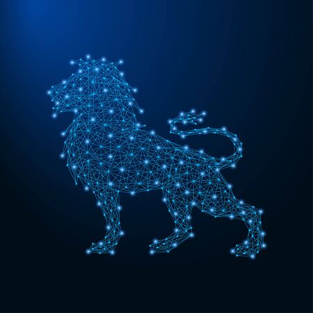 Lion made by points and lines, polygonal wireframe mesh, low poly animal illustration. Vector.