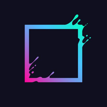 Liquid colorful square. Abstract gradient rectangle shape with splash and drops.