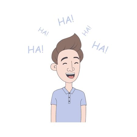 Young man laughs. Hand drawn illustration of boy with laughter emotion in cartoon style. Vector. Vector Illustration