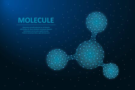 Molecule made by points and lines. Structure of micro molecule with polygonal wireframe mesh. Abstract futuristic illustration for science background. Vector.