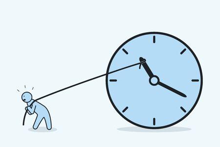 Hombre de negocios tratando de detener el tiempo. El hombre tira de la flecha del reloj hacia atrás con una cuerda. Concepto de gestión de plazos y tiempos. Ilustración vectorial.