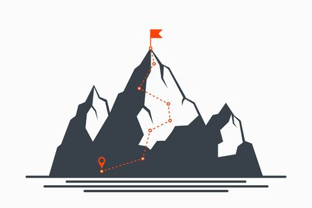 Mountain climbing route to peak. Concept of path to success and goal, way of progress. Plan for climbing to top of mountain. Vector illustration.