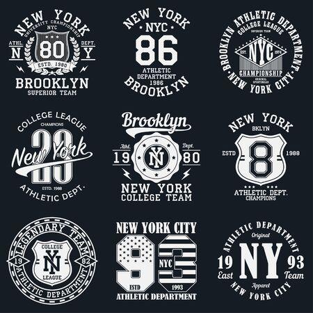 New York, tipografia di Brooklyn. Set di stampa atletica per il design di t-shirt. Grafica per abbigliamento sportivo. Collezione di badge maglietta. Illustrazione vettoriale.